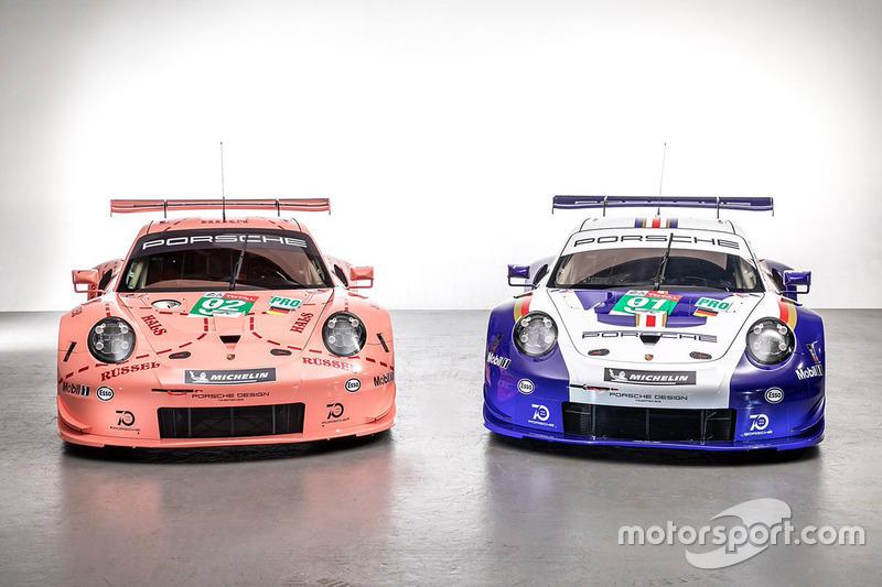 #92 Porsche GT Team Porsche 911 RSR et #91 Porsche GT Team Porsche 911 RSR avec des livrées spéciales