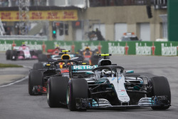 Valtteri Bottas, Mercedes AMG F1 W09, leads Max Verstappen, Red Bull Racing RB14