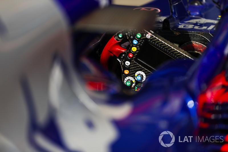 A steering wheel in a Toro Rosso STR13