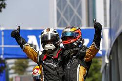 Jean-Eric Vergne, Techeetah congratulates his team mate Andre Lotterer, Techeetah