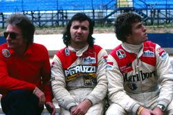 Gerard Ducarouge, Alfa Romeo Team Manager, Bruno Giacomelli and Alfa Romeo teammate Andrea de Cesaris