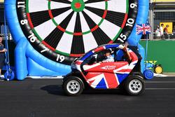 Natalie Pinkham, Sky TV and Johnny Herbert, Sky TV in a Renault Twizzy