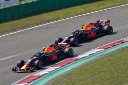 Max Verstappen, Red Bull Racing RB14 leads Daniel Ricciardo, Red Bull Racing RB14