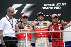 Podium: Race winner Lewis Hamilton, McLaren, second place Fernando Alonso, McLaren, third Felipe Massa, Ferrari