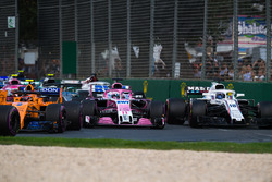 Sergio Perez, Force India VJM11 and Lance Stroll, Williams FW41