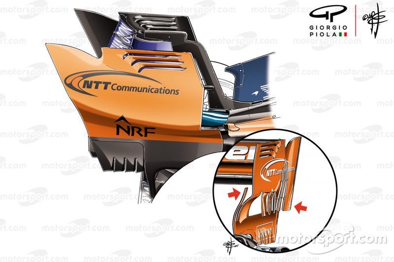 McLaren MCL33 vs MCL32, hátsó szárny véglapok