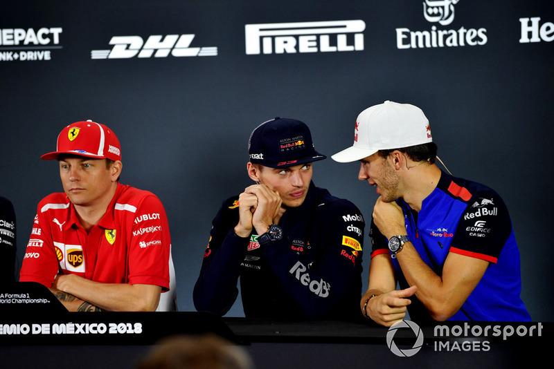 Kimi Raikkonen, Ferrari, Max Verstappen, Red Bull Racing and Pierre Gasly, Scuderia Toro Rosso in Press Conference