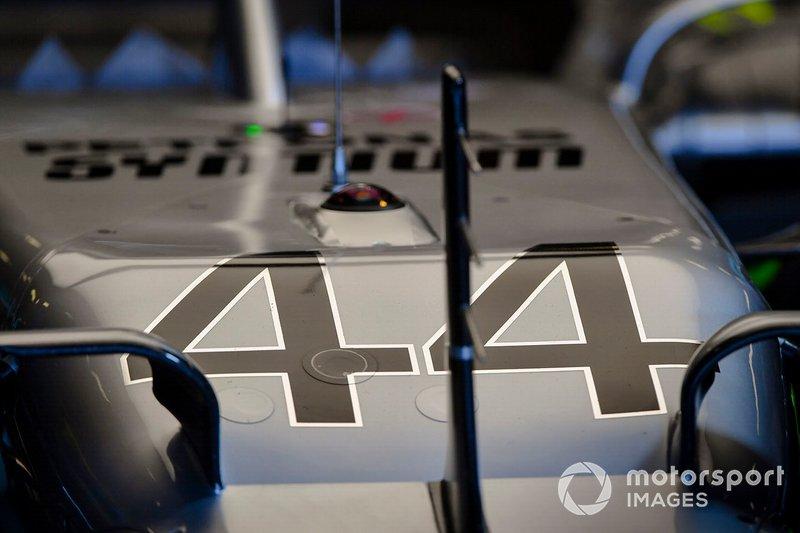 El morro del coche de Lewis Hamilton, Mercedes AMG F1 W10