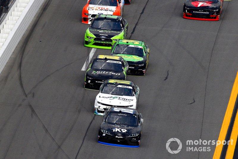 Jeffrey Earnhardt, Joe Gibbs Racing, Toyota Supra iK9 and Justin Haley, Kaulig Racing, Chevrolet Camaro LeafFilter Gutter Protection