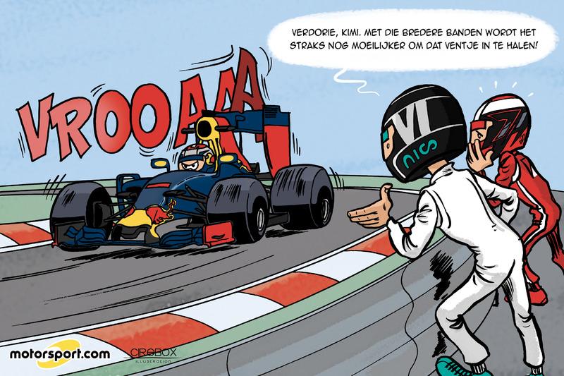Cartoon van Cirebox - Verstappen inhalen nóg moeilijker