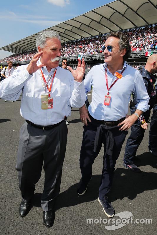 تشايس كاري، رئيس مجلس إدارة مجموعة الفورمولا واحد وأليخاندرو عجاج، رئيس الفورمولا إي