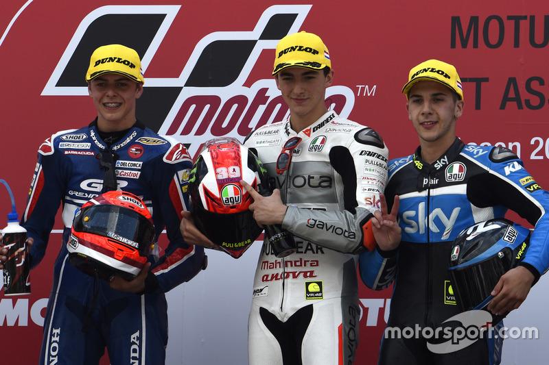 Podyum: 1. Francesco Bagnaia, Aspar Team Mahindra, 2. Fabio Di Giannantonio, Gresini Racing Team Mot
