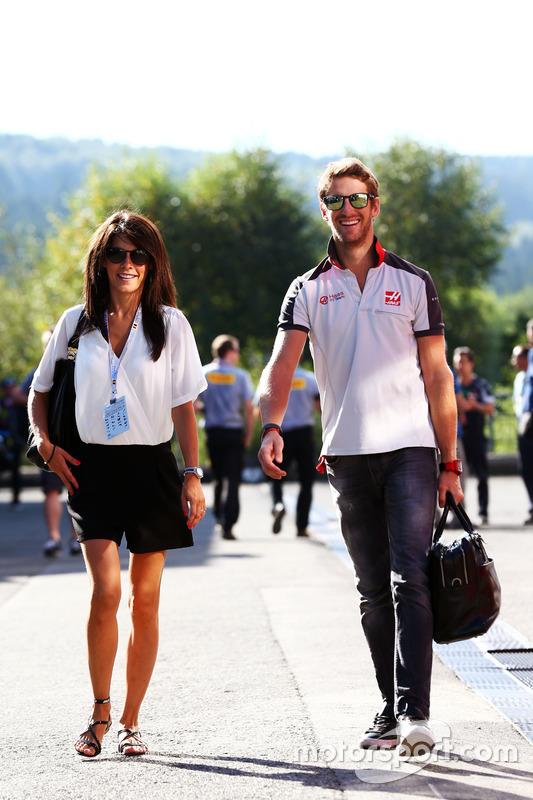 Romain Grosjean, Haas F1 Team with his wife Marion Jolles Grosjean, TF1 TV Presenter