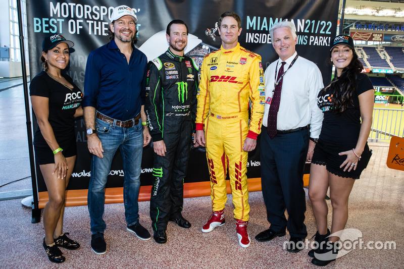 Kurt Busch und Ryan Hunter-Reay mit dem Präsidenten des Race of Champions, Fredrik Johnsson