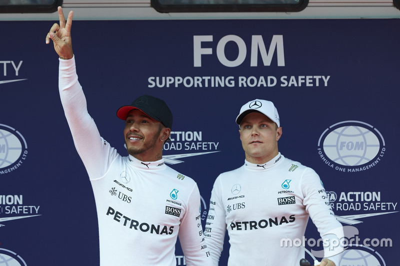 Pole man Lewis Hamilton, Mercedes AMG, with Valtteri Bottas, Mercedes AMG