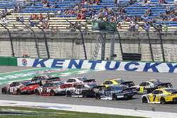 Kyle Busch, Joe Gibbs Racing Toyota, Erik Jones, Joe Gibbs Racing Toyota lead the field on the restart