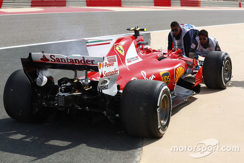 car of Kimi Raikkonen, Ferrari SF70H, after he stopped on track