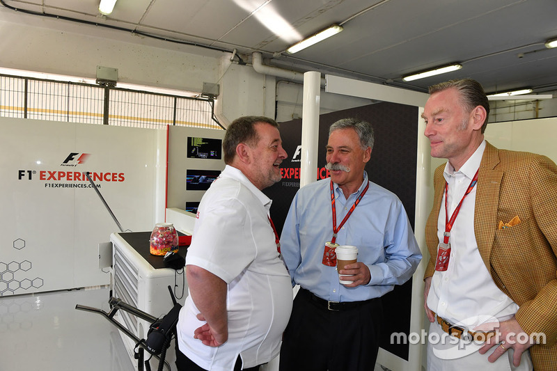 Paul Stoddart, Chase Carey, Chief Executive Officer and Executive Chairman of the Formula One Group and Sean Bratches, Formula One Managing Director, Commercial Operations