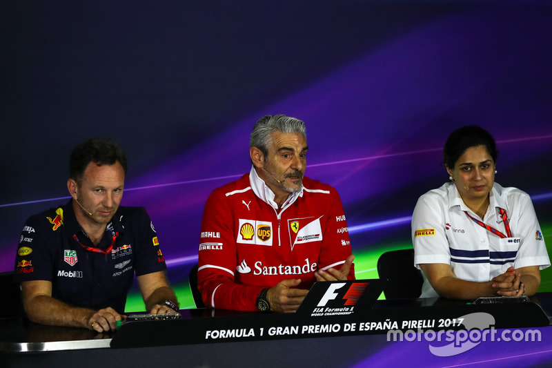 Christian Horner, Red Bull Racing Team Principal, Maurizio Arrivabene, Ferrari Team Principal and Monisha Kaltenborn, Sauber Team Prinicpal in the Press Conference