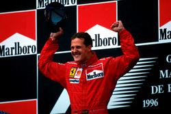 Podium: Race winner Winner Michael Schumacher, Ferrari F310