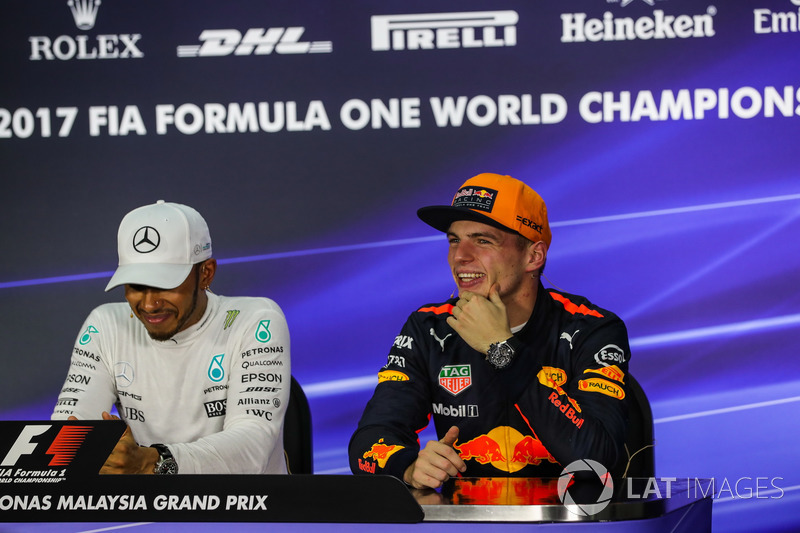 Max Verstappen, Red Bull Racing and Lewis Hamilton, Mercedes AMG F1 in the Press Conference