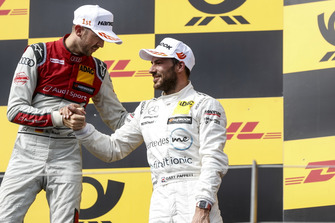 Podium: Winnaar René Rast, Audi Sport Team Rosberg en nummer drie Gary Paffett, Mercedes-AMG Team HWA