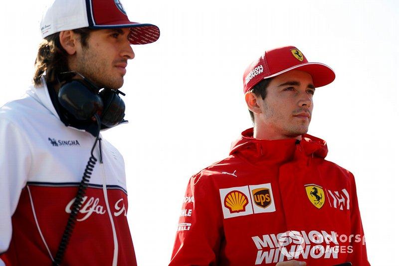 Antonio Giovinazzi, Alfa Romeo Racing, Charles Leclerc, Ferrari