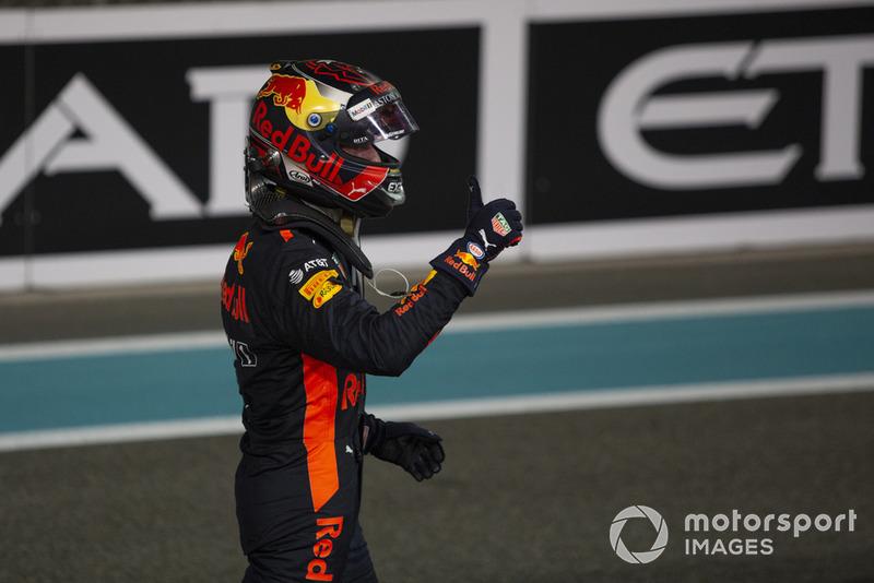 Max Verstappen, Red Bull Racing dans le Parc Fermé