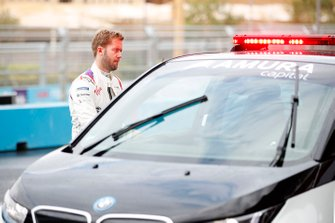 Sam Bird, Envision Virgin Racing prepares to head out with Race Director Scot Elkins in the BMW i3