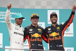 second place Lewis Hamilton, Mercedes AMG F1, Max Verstappen, Red Bull Racing, race winner, third place Daniel Ricciardo, Red Bull Racing