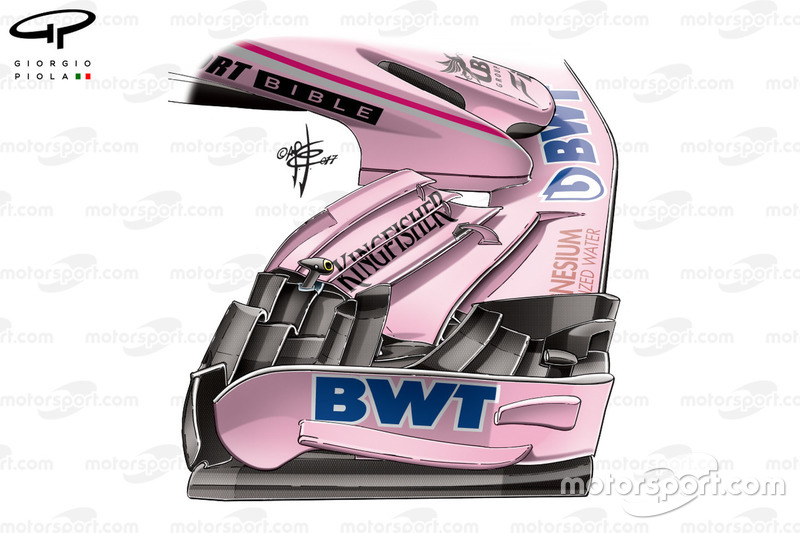 Force India VJM10 nuevo alerón delantero, GP británico