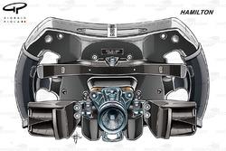 Mercedes W08, rear view of Lewis Hamilton's steering wheel