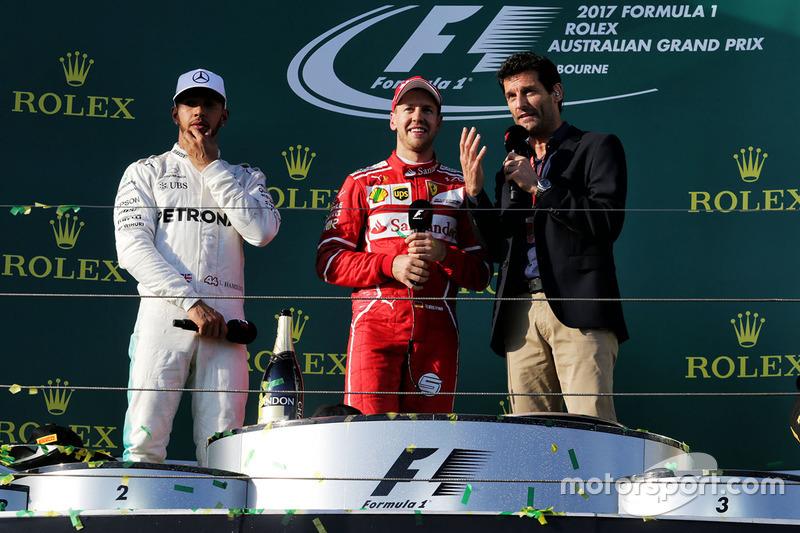 Podium: winner Sebastian Vettel, Ferrari, second place Lewis Hamilton, Mercedes AMG F1, Mark Webber