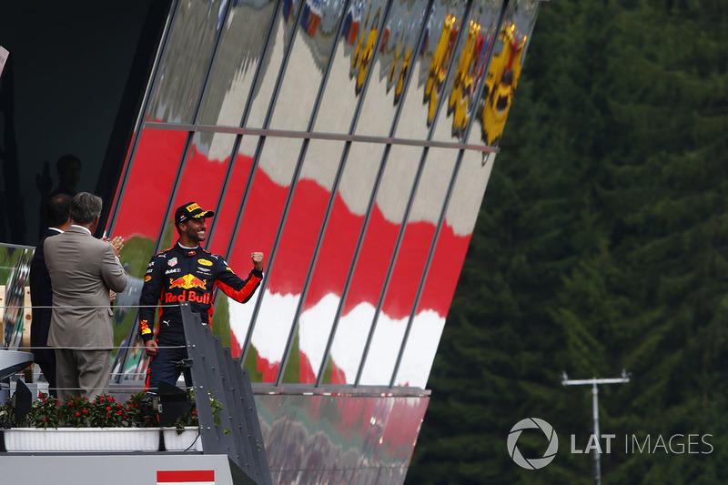 Daniel Ricciardo, Red Bull Racing, celebrates his third place on the podium