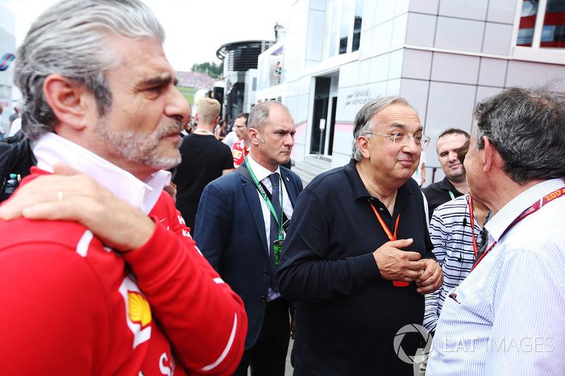 Maurizio Arrivabene, Team Principal, Ferrari, Sergio Marchionne, Chief Executive Officer, Fiat Chrysler and Chairman, Ferrari
