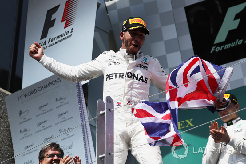Lewis Hamilton, Mercedes AMG F1 ceebrates on the podium