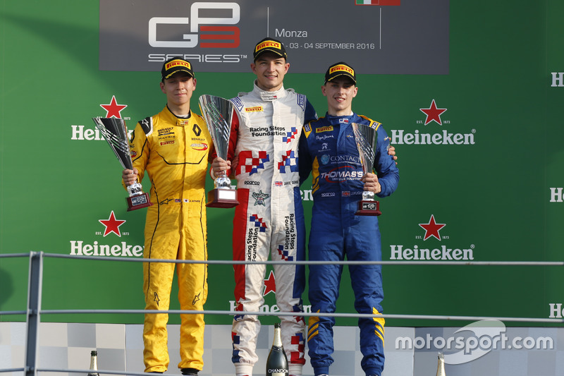 Podium: Jake Dennis, Arden International Jack Aitken, Arden International and Jake Hughes, DAMS