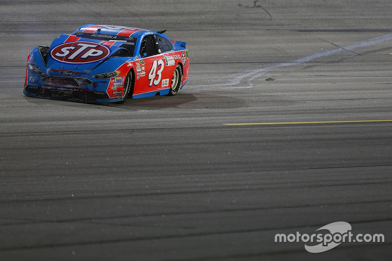 Aric Almirola, Richard Petty Motorsports Ford, crashed car