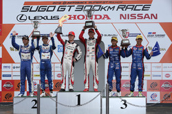 Podium GT300: winners #31 Apr Toyota Prius GT: Koki Saga, Yuichi Nakayama, second place #25 Team Tsuchiya Toyota MC86: Takeshi Tsuchiya, Takamitsu Matsui, third place #61 R&D Sport Subaru BRZ: Takuto Iguchi, Hideki Yamauchi
