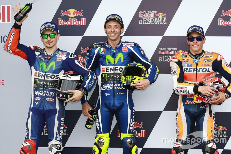 Polesitter Valentino Rossi, 2. Jorge Lorenzo, 3. Marc Marquez