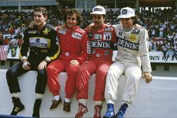 Претенденты на титул чемпиона 1986 года: Айртон Сенна, Lotus, Ален Прост, McLaren, Найджел Мэнселл и Нельсон Пике, Williams