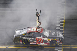 Erik Jones, Joe Gibbs Racing, Toyota Camry buyatoyota.com, celebrates after winning.