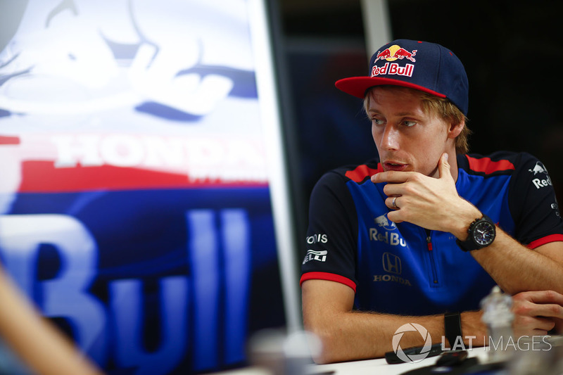 Brendon Hartley, Toro Rosso., talks to the press