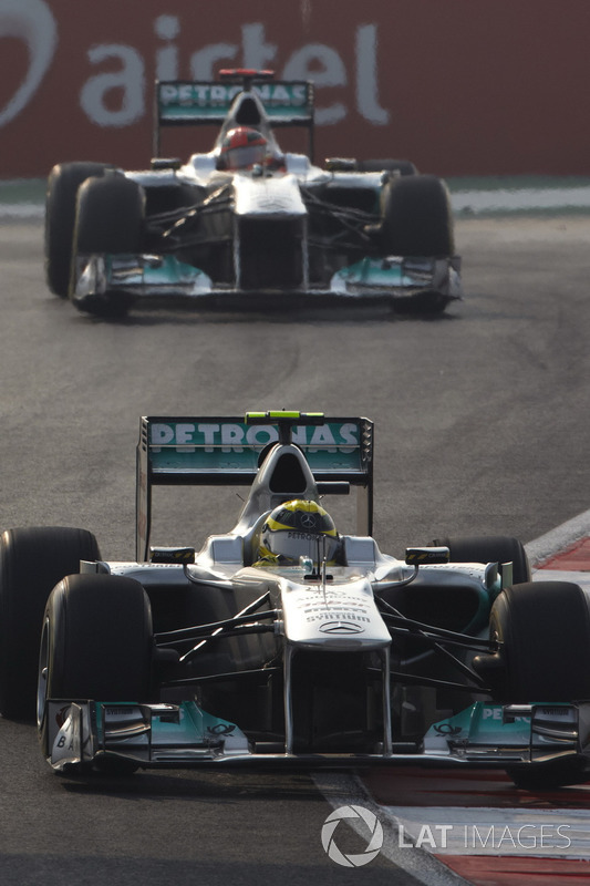 Nico Rosberg, Mercedes GP W02, precede Michael Schumacher, Mercedes GP W02