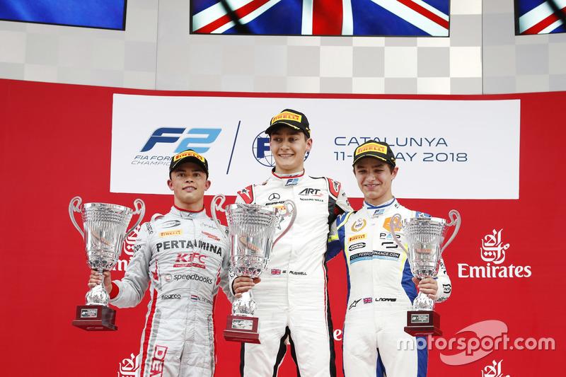 Le vainqueur George Russell, ART Grand Prix, le deuxième, Nyck De Vries, PREMA Racing, le troisième, Lando Norris, Carlin