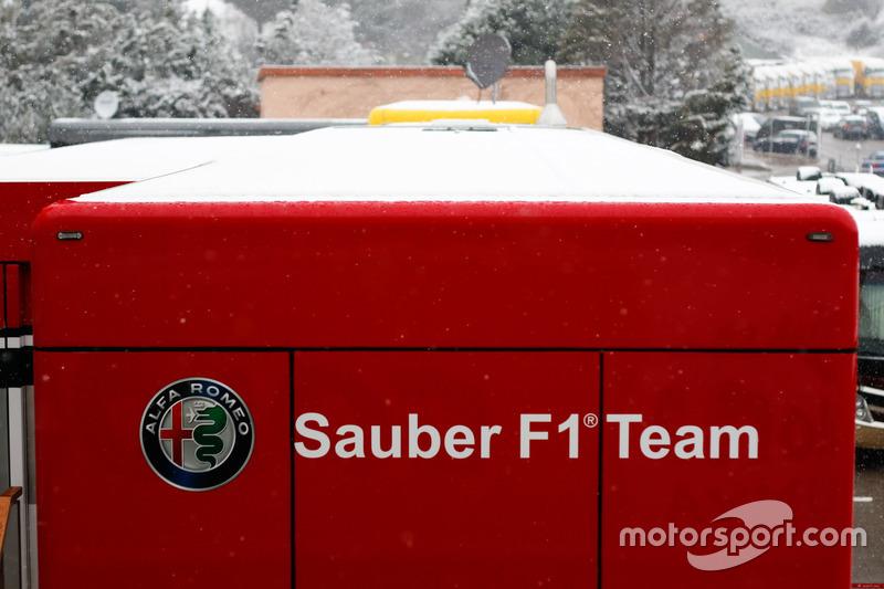 Snow on the Sauber F1 Team trucks