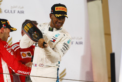 Lewis Hamilton, Mercedes AMG F1, 3rd position, celebrates with Waard, a non alcoholic Champagne substitute, on the podium