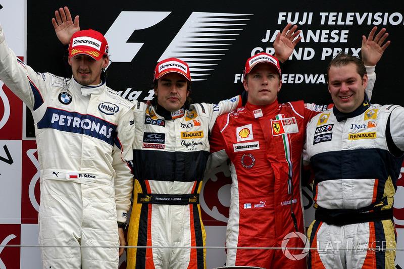 2008: 1. Фернандо Алонсо, 2. Роберт Кубица, 3. Кими Райкконен