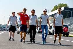 Charles Leclerc, ART Grand Prix walks the track with Esteban Gutierrez and the Haas F1 Team