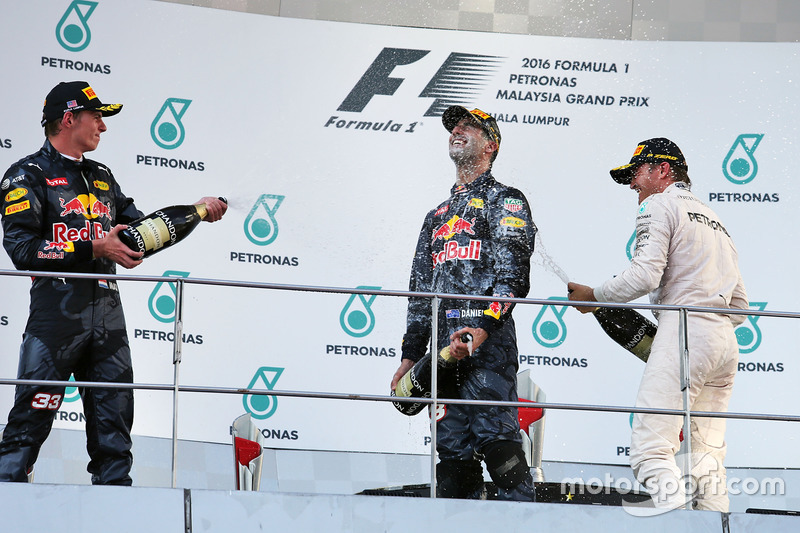 The podium (L to R): Max Verstappen, Red Bull Racing, second; Daniel Ricciardo, Red Bull Racing, race winner; Nico Rosberg, Mercedes AMG F1, third